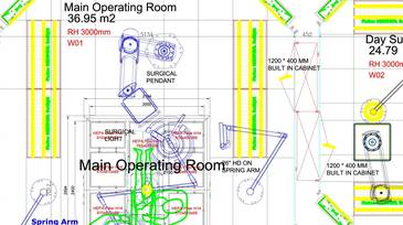 Drawing of operating theatre plans